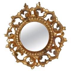 Small Italian 18th Century Round Baroque Giltwood Mirror