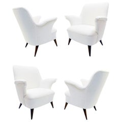 Small Italian Armchairs with New White Cream Upholstery