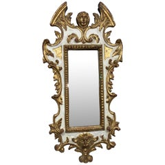 Small Italian Baroque Style Gilded Wall Mirror, Marked Florentia