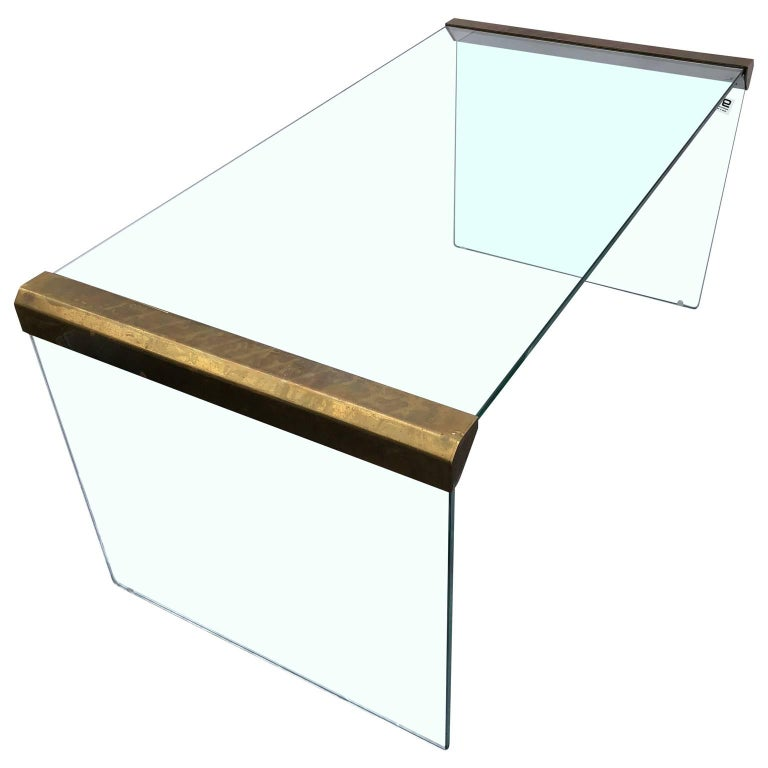 Small Brass And Glass Coffee Tables: Small Italian Glass And Brass Cocktail Table By Pierangelo