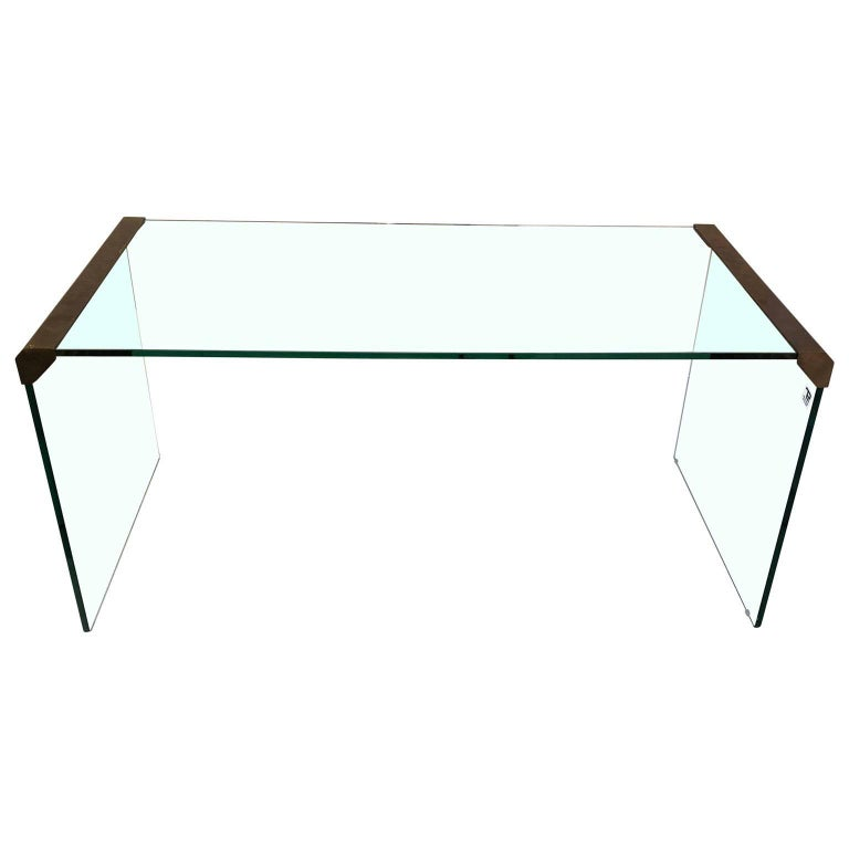 Small Italian Glass and Brass Cocktail Table by Pierangelo Galotti & Radice