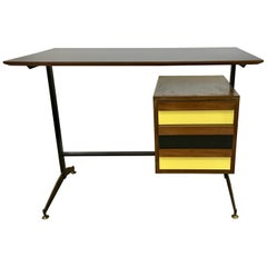 Small Italian Midcentury Desk with Black and Yellow Drawers