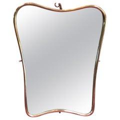 Small Italian Minimal Curvilinear Brass Mirror, 1950s