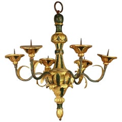 Small Italian Painted and Carved Giltwood Chandelier
