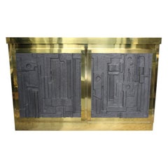 Small Italian Rectangular Brass Sideboard With Resin Doors