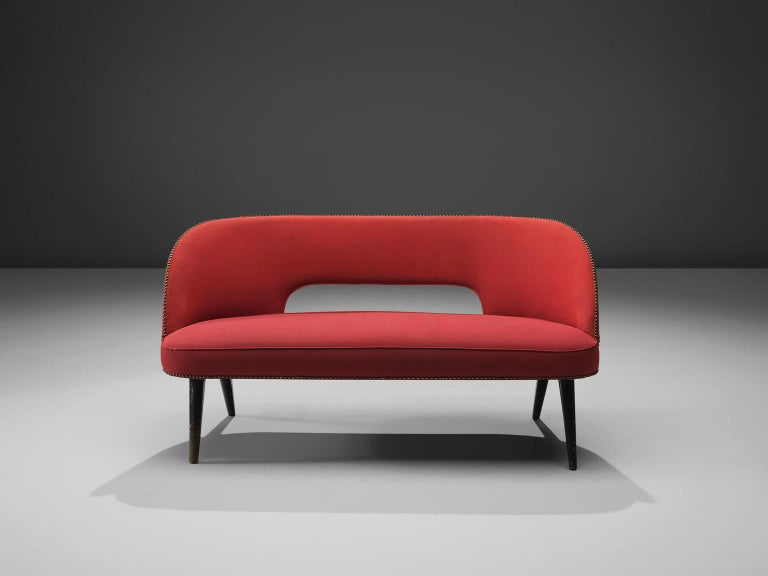 Mid-Century Modern Small Italian Sofa in Red Upholstery For Sale