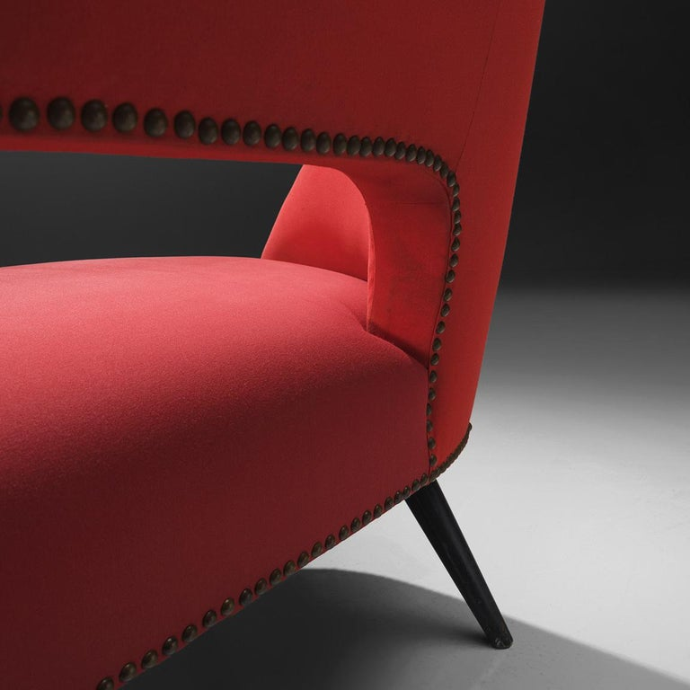 Fabric Small Italian Sofa in Red Upholstery For Sale