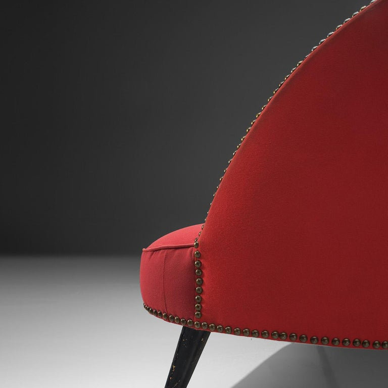 Small Italian Sofa in Red Upholstery For Sale 1