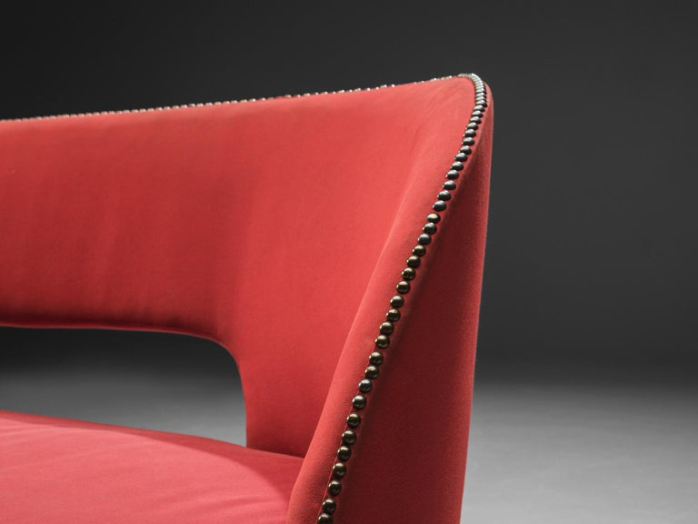 Small Italian Sofa in Red Upholstery For Sale 2