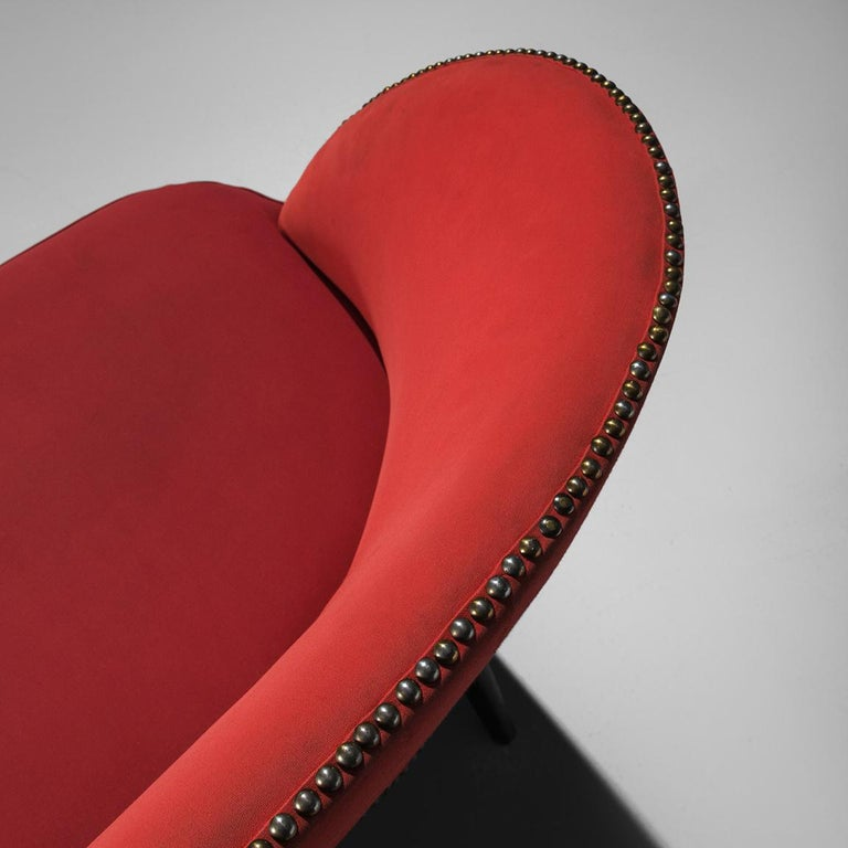 Small Italian Sofa in Red Upholstery For Sale 3
