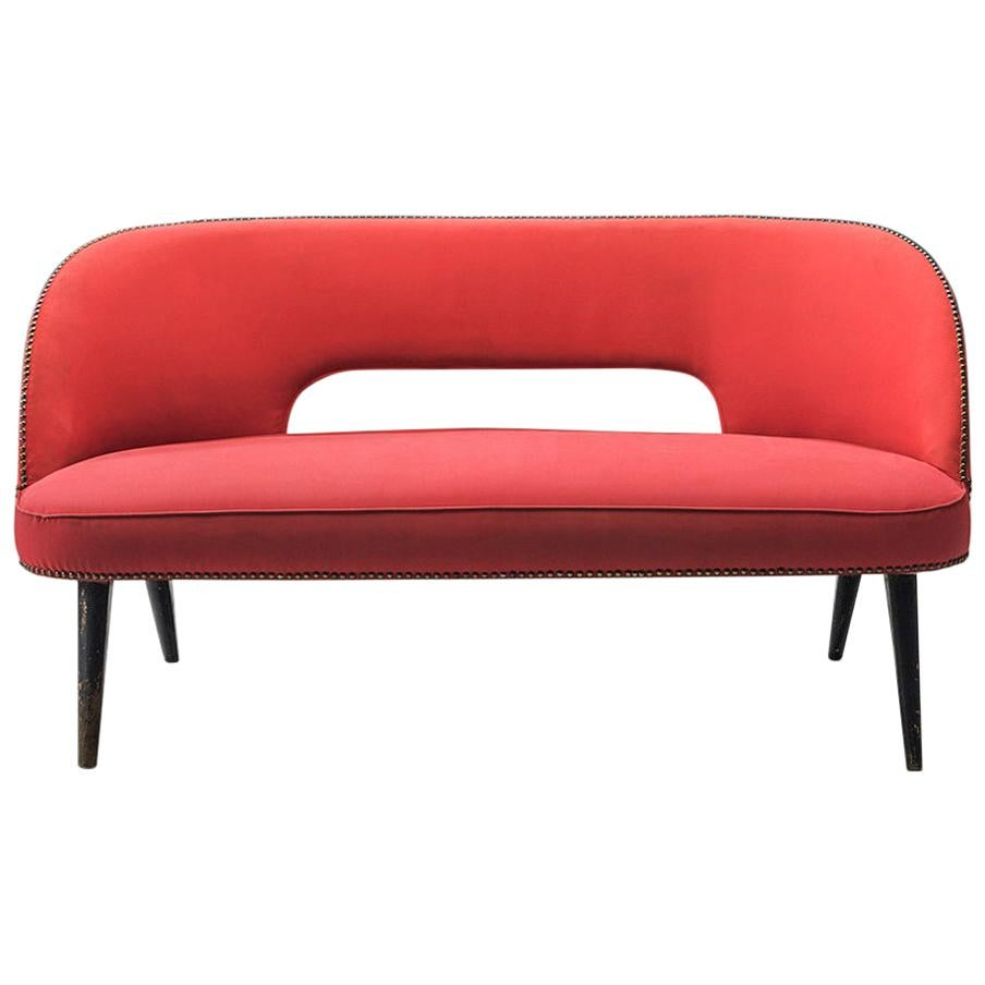 Small Italian Sofa in Red Upholstery