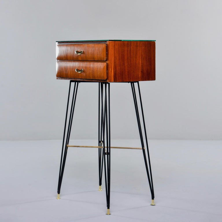 Small Italian Two-Drawer Side Cabinet with Hairpin Legs For Sale 3