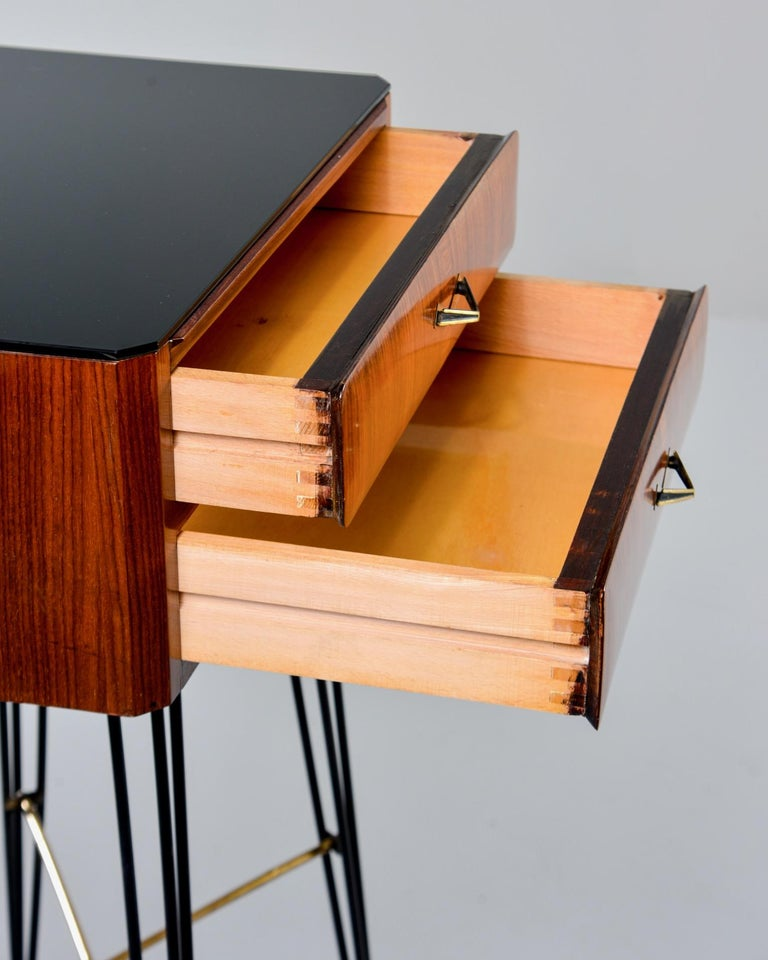 Small Italian Two-Drawer Side Cabinet with Hairpin Legs For Sale 4