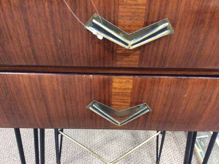 Small Italian Two-Drawer Side Cabinet with Hairpin Legs For Sale 8