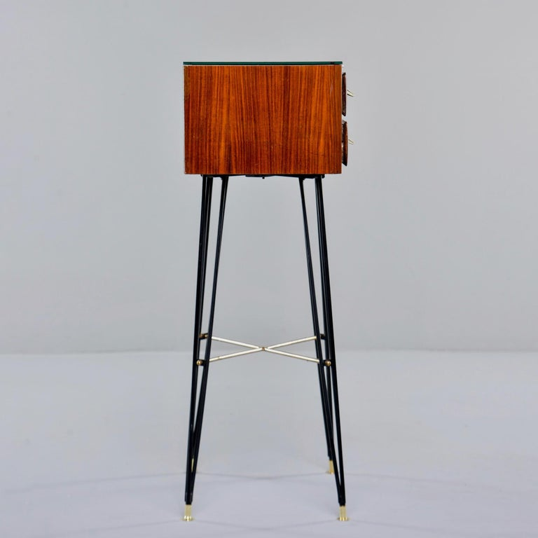 20th Century Small Italian Two-Drawer Side Cabinet with Hairpin Legs For Sale