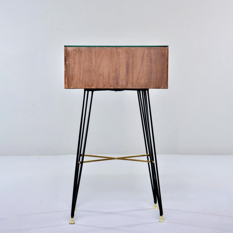 Wood Small Italian Two-Drawer Side Cabinet with Hairpin Legs For Sale