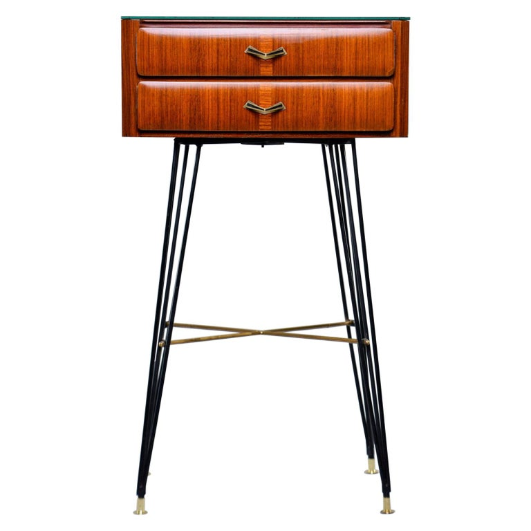 Small Italian Two-Drawer Side Cabinet with Hairpin Legs For Sale