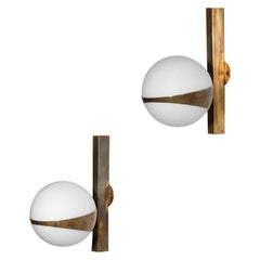 Small Italian Wall Lights, Stilnovo Style, Opaline and Brass