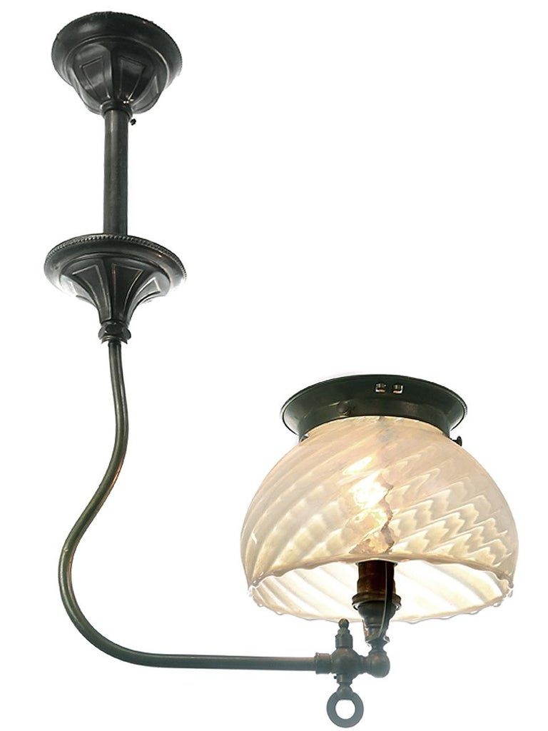 Victorian Small J Style Gas Fixture, Unique Swirl Vaseline Shade For Sale