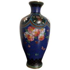 Small Japanese Blue Cloisonne Vase, Meiji Period, Japan