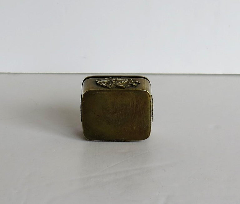 Small Japanese bronze and brass embossed Box with hinged lid 19th C Meiji Period For Sale 13
