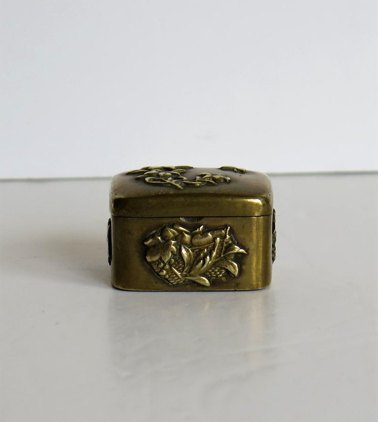 19th Century Small Japanese bronze and brass embossed Box with hinged lid 19th C Meiji Period For Sale