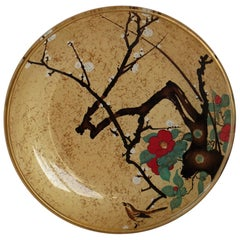 Small Japanese Glass Dish with Hand Painted Kakiemon Decoration, circa 1920