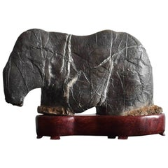 Small Japanese Old Stone / Elephant-Shaped Ornamental Stone / Scholar's Objects