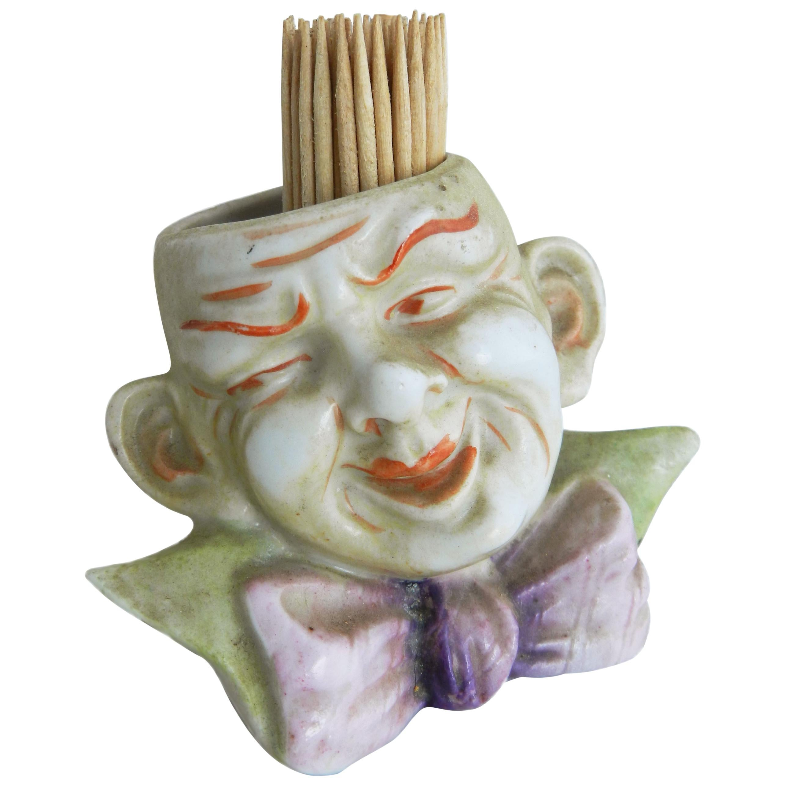 Small Jester Face Vase Tooth Pick or Flowers, circa 1920
