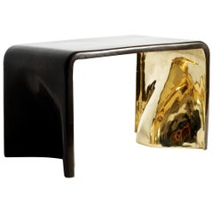 Small Khetan Bench in Dark Bronze with Gold Bronze Interior by Elan Atelier