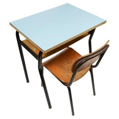 Small Kindergarten Desk with Chair Made in Italy in the 50s Formica and metal