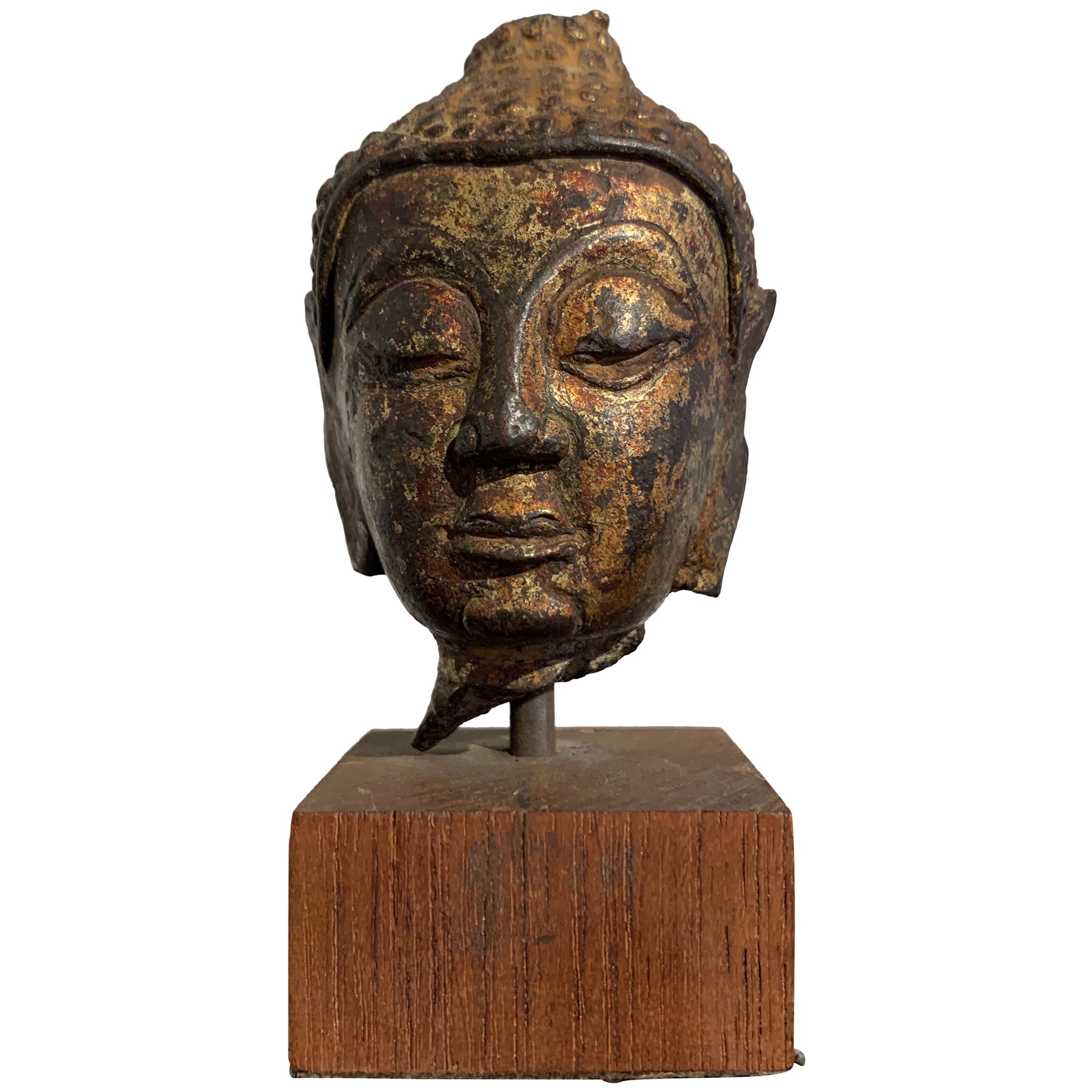 Small Lan Na Gilt Bronze Buddha Head, 15th-16th Century, Thailand