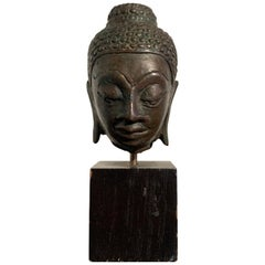 Small Lao Lan Xang Bronze Buddha Head, 17th Century, Laos