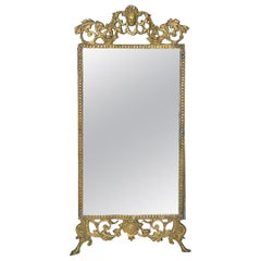 Small Late Victorian Cast Gilt Metal Mirror