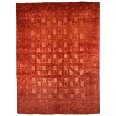 Small Light and Deep Red Checkerboard Contemporary Gabbeh Persian Wool Rug