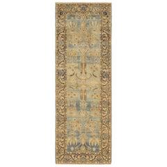 Small Light Blue Antique Persian Kerman Rug