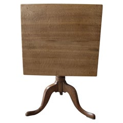 Small Light Oak Tripod Table, Side Table, Coffee Table, Wine, Victorian, English
