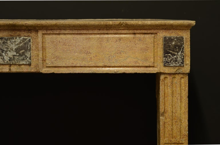 French Small Limestone Louis XVI Fireplace Mantel For Sale