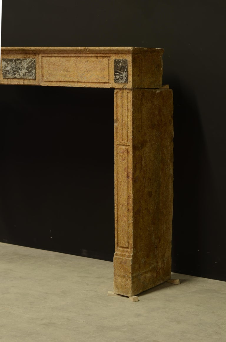 18th Century and Earlier Small Limestone Louis XVI Fireplace Mantel For Sale