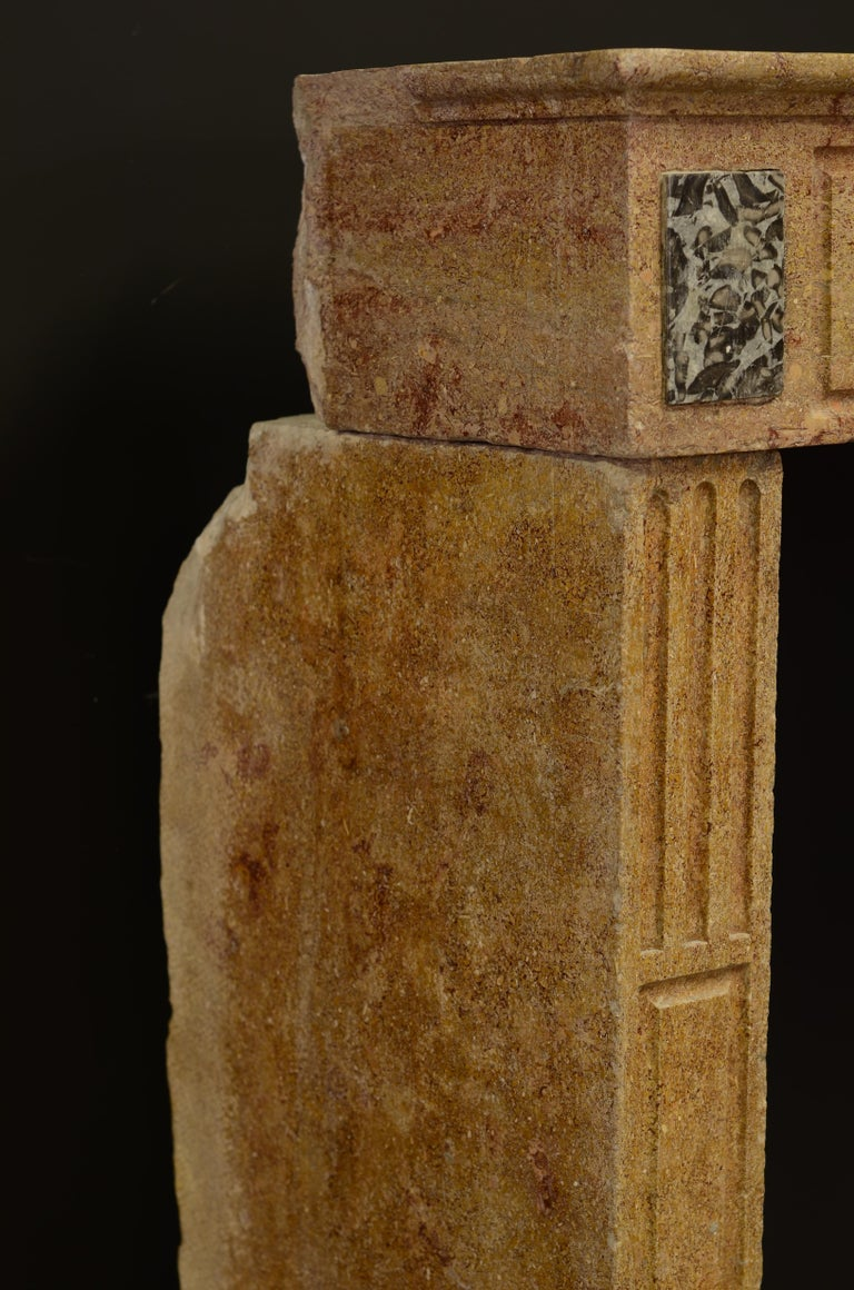 Small Limestone Louis XVI Fireplace Mantel For Sale 2