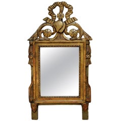 Small Louis XVI Period Carved Giltwood and Painted Mirror, circa 1780