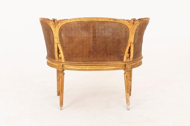 French Small Louis XVI Style Cane Sofa in Giltwood, circa 1880 For Sale
