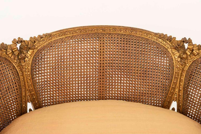 19th Century Small Louis XVI Style Cane Sofa in Giltwood, circa 1880 For Sale