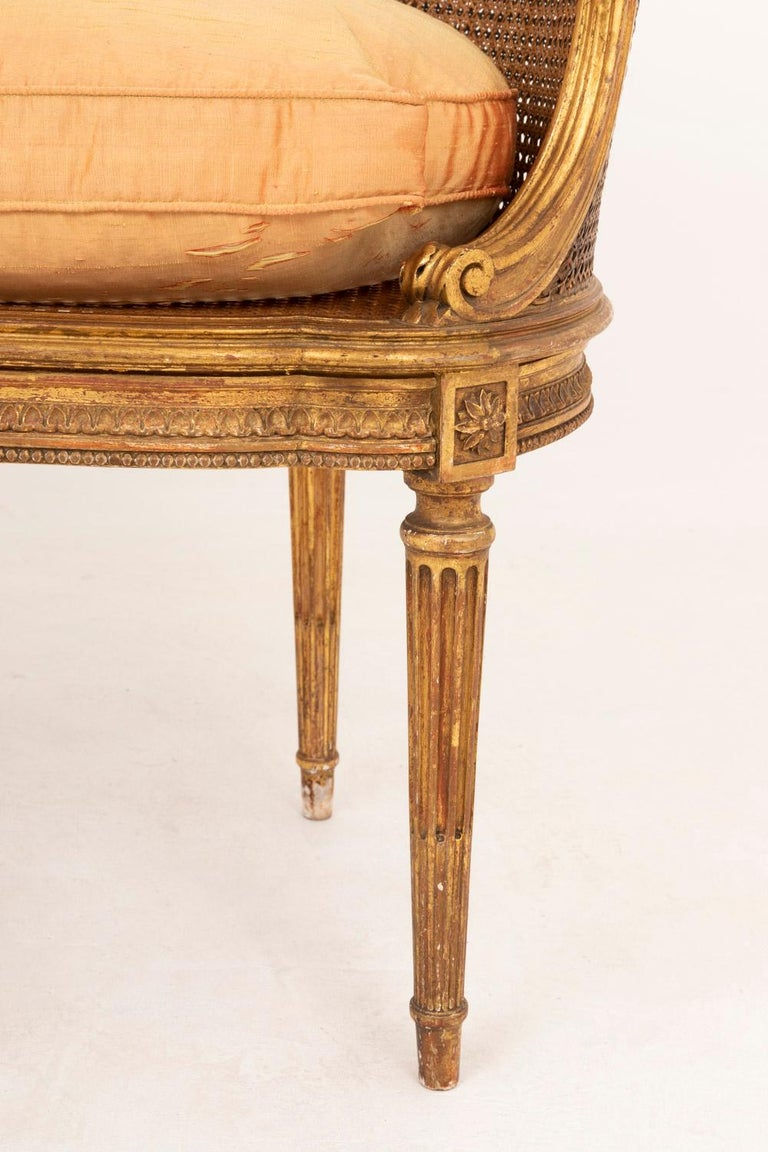 Small Louis XVI Style Cane Sofa in Giltwood, circa 1880 For Sale 1
