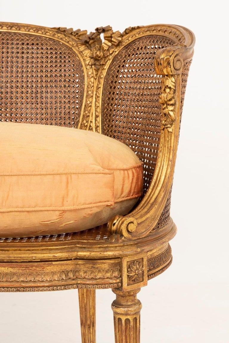 Small Louis XVI Style Cane Sofa in Giltwood, circa 1880 For Sale 2