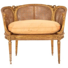 Small Louis XVI Style Cane Sofa in Giltwood, circa 1880