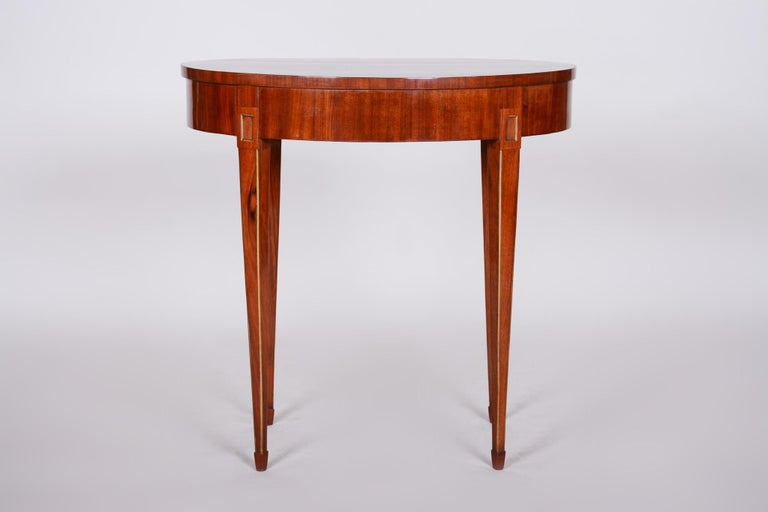 Shipping to any US port only for $290 USD  French Biedermeier small table Period: 1840-1849 Material: Mahogany Shellac polished.  We guarantee safe a the cheapest air transport from Europe to the whole world within 7 days. The price is the same as