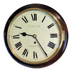 Small Mahogany English Fusee Dial Clock by J.Allen, Norwich