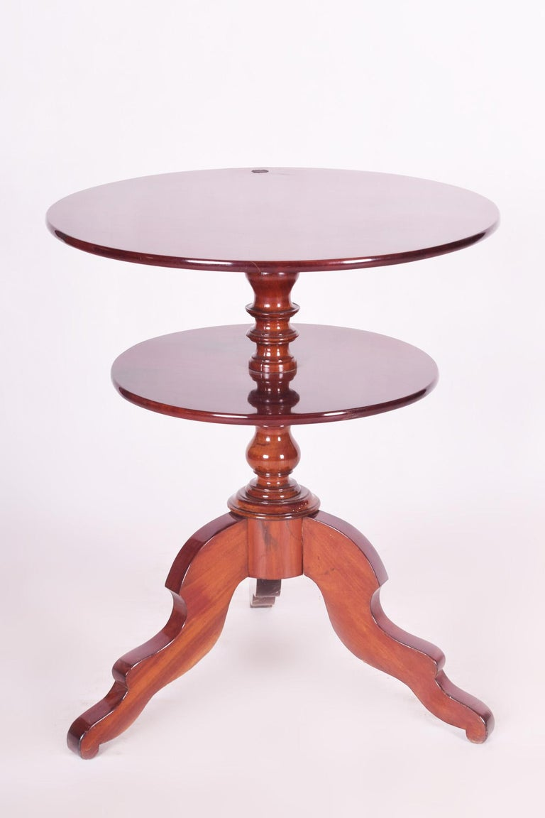 Biedermeier Small Mahogany Historicism Rounded Table, Germany, 1880-1889, High Gloss For Sale