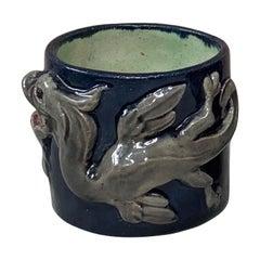 Small Majolica Palissy Dragon Vase Thomas Sergent, circa 1880
